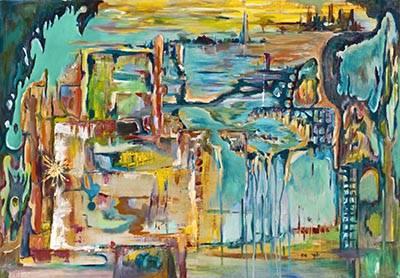 Абстракция живопись водопад