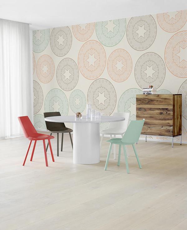 фреска с яркими пастельными сферами на стене добавит простор вашему интерьеру