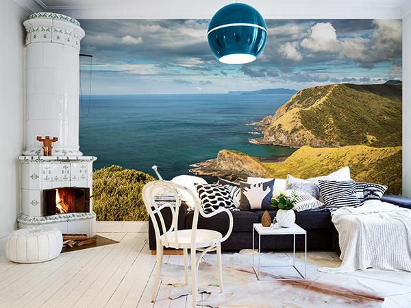 Расширение пространства с помощью Фотообоев красивый ландшафт вместо стены