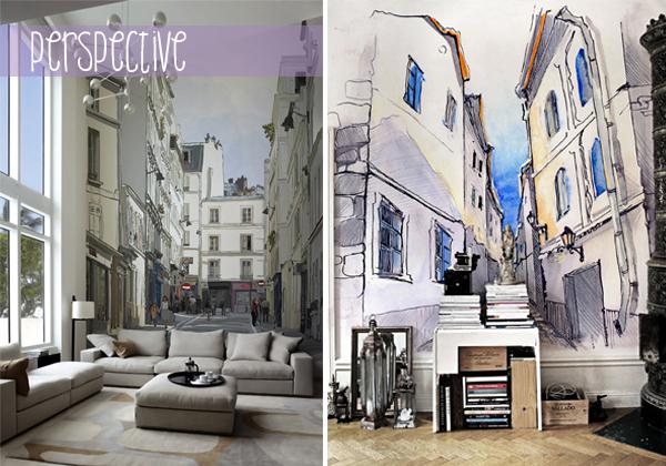 Фотообои для расширения пространства комнаты Улицы Парижа