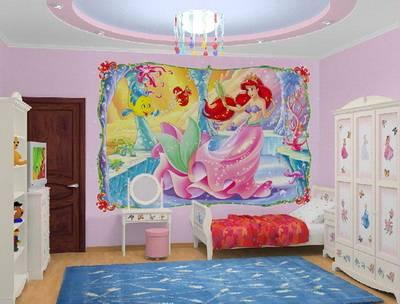 Фотообои принцессы в интерьере детской комнаты