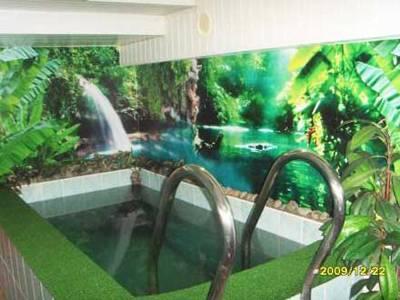 Оформление бассейна в сауне специальные фотообои
