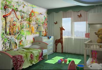 Настенные арт-обои на текстуре лен в детской комнате